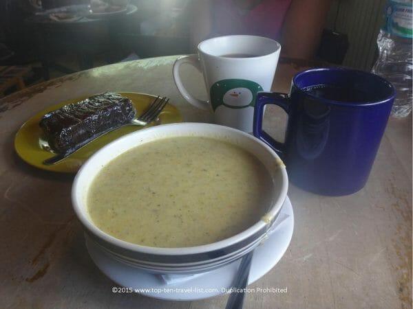 Vegan broccoli cheese soup at Drunken Monkey coffeeshop in Orlando, Florida