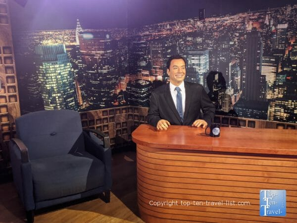 Jimmy Fallon wax figure at Madame Tussauds in Orlando, Florida