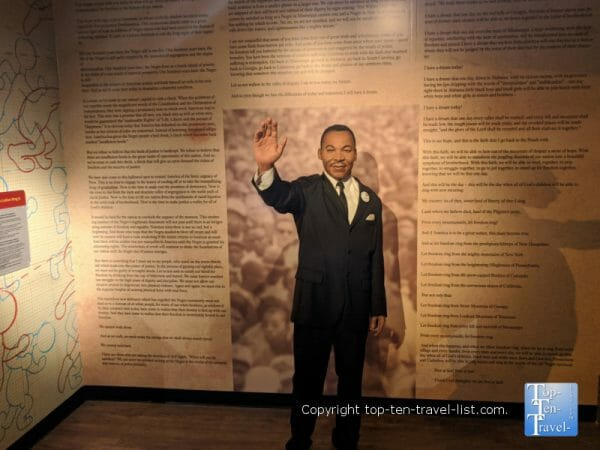 Martin Luther King wax figure at Madame Tussauds in Orlando, Florida