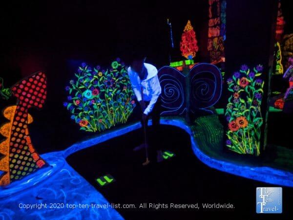 Glow in the dark mini golf at Putting Edge in Orlando, Florida