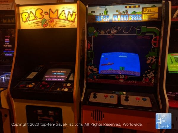 Old school Super Mario Brothers and Pac Man arcade game at Replay Amusements in Tarpon Springs, Florida