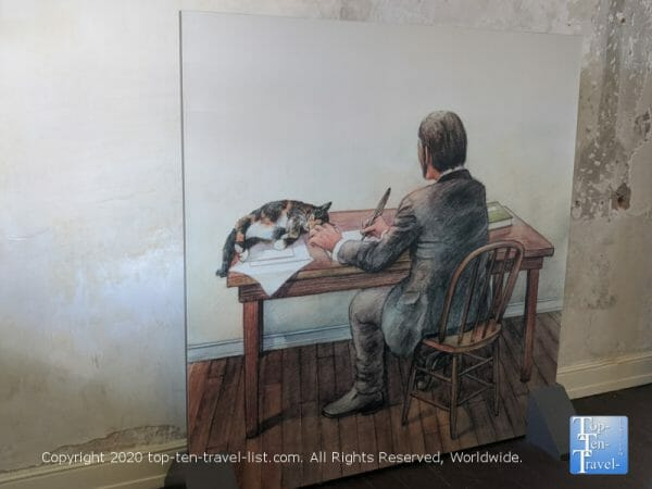 Picture of Edgar Allan Poe with his cat at the National Historic Site in Philadelphia
