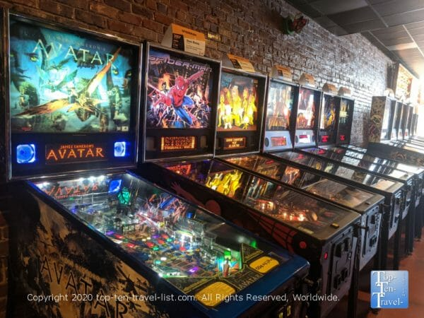 Pinball machines at Replay Amusements in Tarpon Springs, Florida
