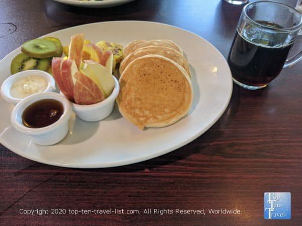 Vegan, gluten-free plant based pancakes at Ohana Cafe in Dunedin, Florida