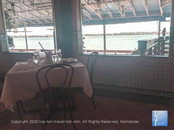 Scenic waterfront view from the dining room at Columbia Restaurant Sand Key