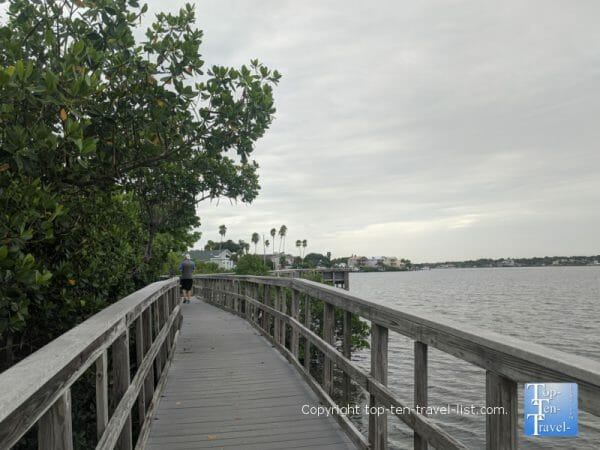 Shady boardwalk trail at Indian Rocks Beach nature preserve