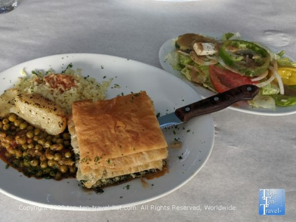 Greek salad and spanakopita at Hellas restaurant in Tarpon Springs, Florida