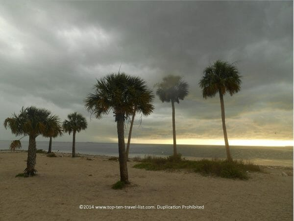 Stormy day on Sunset Beach in Tarpon Springs, Florida
