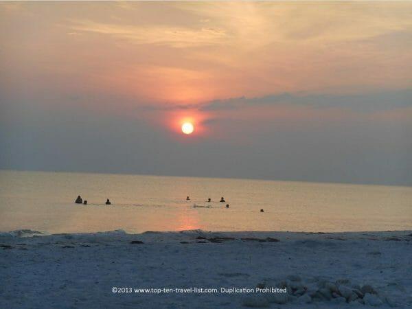 Sunset at Honeymoon Island beach in Dunedin, Florida