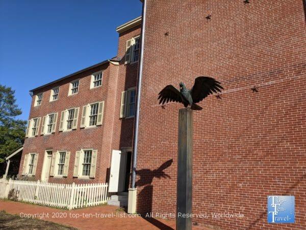 Red brick Edgar Allan Poe house in Philadelphia