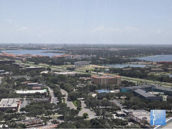 Views of lakes from the Icon Park Ferris Wheel in Orlando, Florida