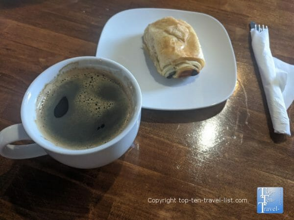 Americano and Chocolate croissants at Cork and Beans in downtown Dunedin, Florida