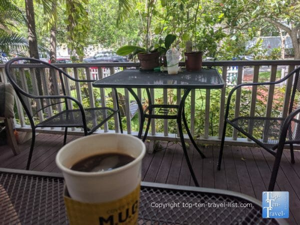 Americano  on the shady patio at Jet City Espresso in Tampa, Florida