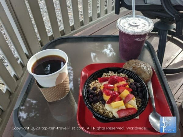 Blueberry banana smoothie, acai bowl, GF muffin, and a house coffee at Ohana Fresh in Palm Harbor, Florida