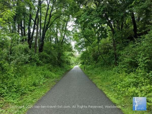 The 14 mile long Chester Valley trail, a former railroad line in Pennsylvania's Main Line