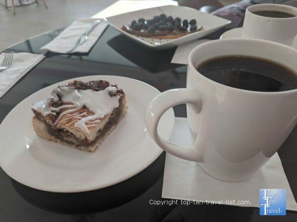 Amazing cinnamon bread and house coffee at Copenhagen Cafe in Tarpon Springs, Florida