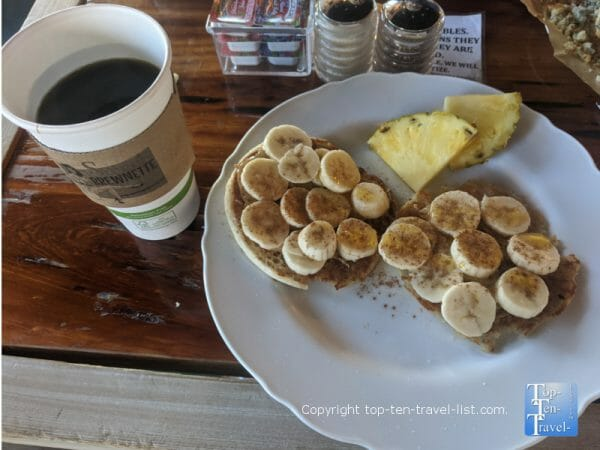 Peanut butter and banana English muffin at Sweet Brewnette coffee shop in Madeira Beach, Florida