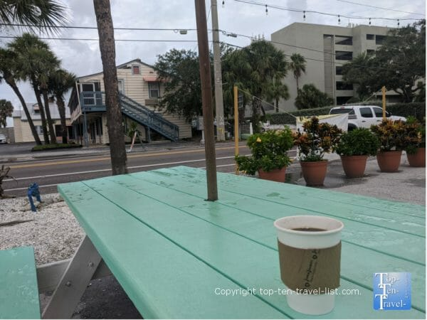 Coffee on the patio at Ready Set Yo in Indian Rocks Beach, Florida