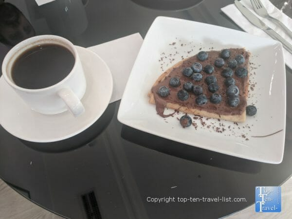 Delicious Americano and Chocolate Blueberry crepe at Copenhagen Cafe in Tarpon Springs, Florida