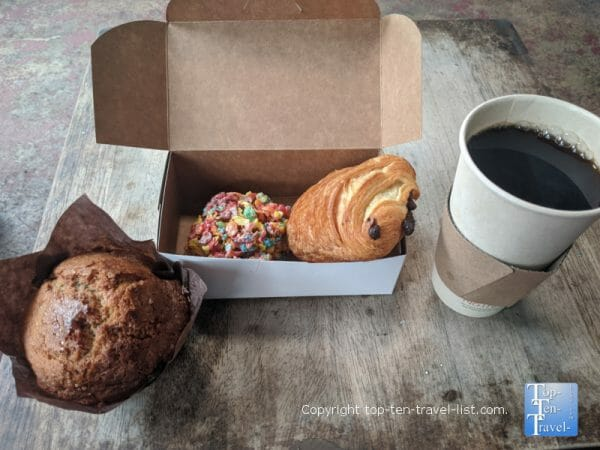 Delicious coffee and pastries at Indian Shores Coffee Company in Indian Rocks Beach, Florida