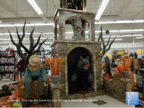 Festive Halloween decor at Spirit Halloween store