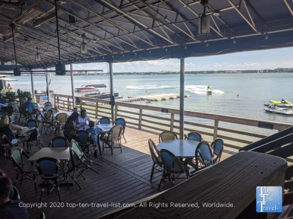 Gorgeous waterfront patio at Columbia Restaurant Sand Key