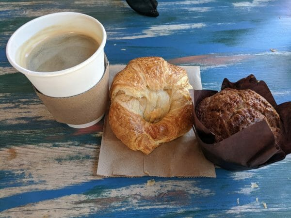 Americano and pastry treats at Indian Shores Coffee Company in Indian Rocks Beach, Florida