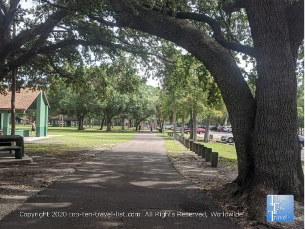 Shady jogging path at Al Lopez Park in Tampa, Florida