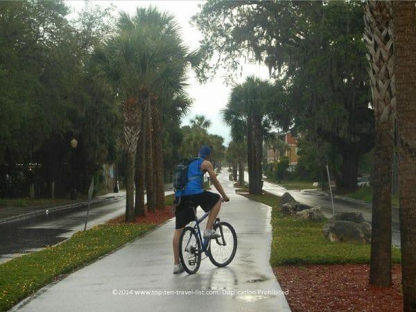 Palms and lush greenery lining the Pinellas trail near Tarpon Springs, Florida