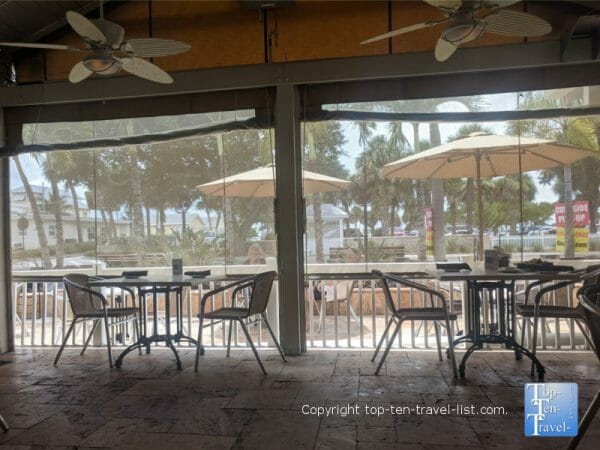 Covered patio at Guppy's on the Beach on Florida's Gulf Coast