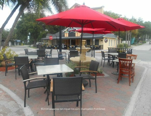 Pretty patio at the Living Room on Main in Dunedin, Florida