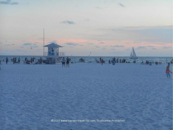 Soft white sand at Clearwater Beach on Florida's Gulf Coast