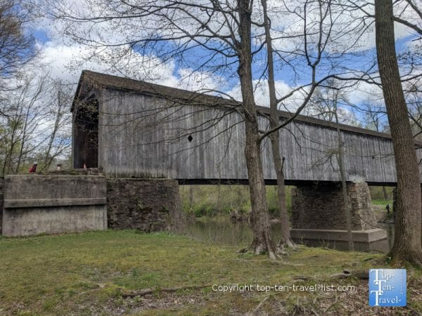 The longest covered bridge in Bucks County, PA at Tyler State Park