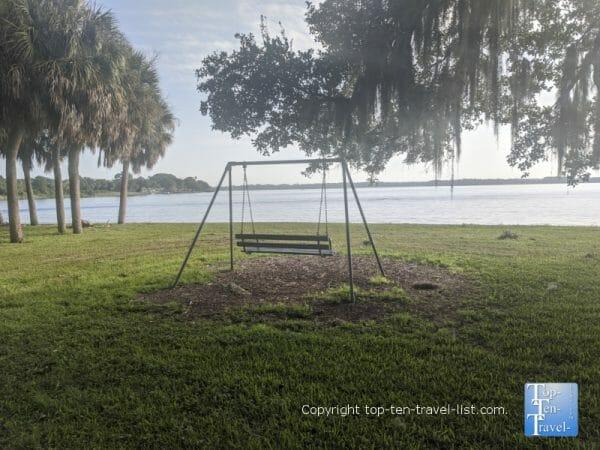 Tranquil views of Lake Tarpon at A L Anderson Park in Tarpon Springs, Florida
