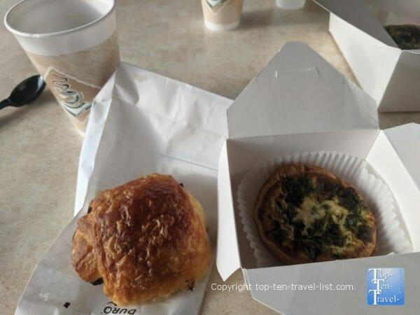 Veggie quiche and chocolate croissant at Cafe de Paris in Indian Rocks Beach, Florida