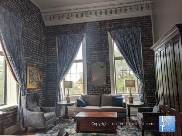 Beautiful exposed brick walls at the East Bay Inn in Savannah, Georgia