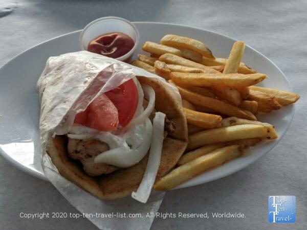 Chicken souvlaki at Hellas Greek restaurant in Tarpon Springs, Florida