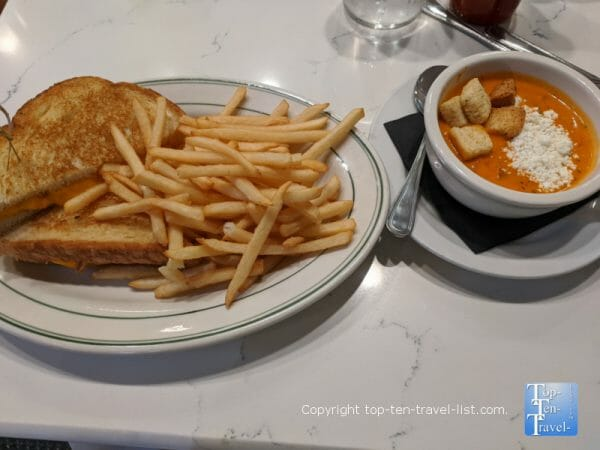 Grilled cheese and tomato soup at Little Duck Diner in Savannah, Georgia