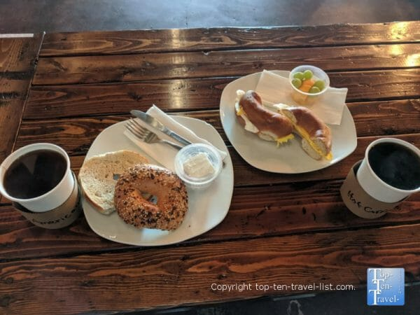 Coffee and delicious bagels at Haus  Coffee shop in Largo, Florida
