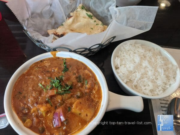 Delicious Tikka masala and naan bread at Naan on Broughton in Savannah, Georgia