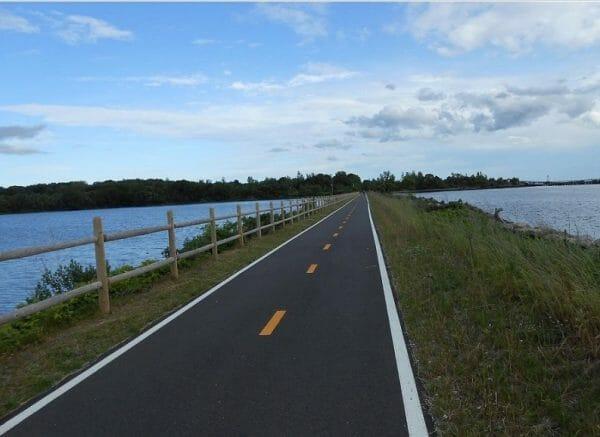 Beautiful views along the East Bay bike path, Rhode Island's most scenic paved biking route