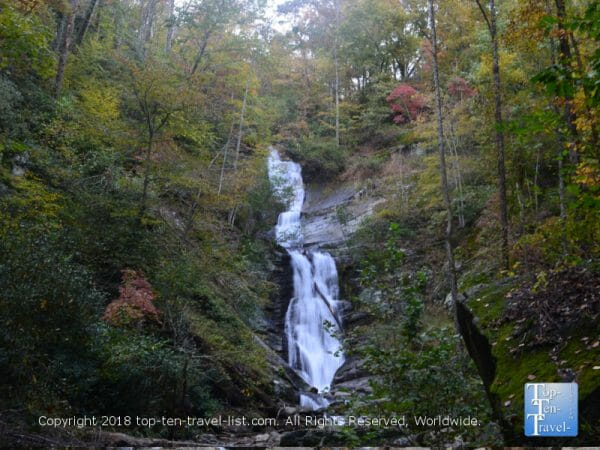 Beautiful fall colors surrounding Tom's Creek waterfall in Western North Carolina