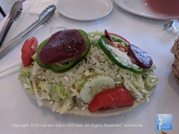 Delicious Greek salad at Mr. Souvlaki in Tarpon Springs, Florida