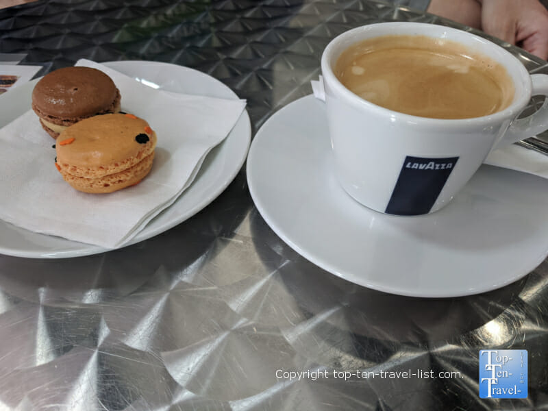 Pumpkin macaron and Americano at  Le Macaron at The Shops of Wiregrass in Wesley Chapel, Florida