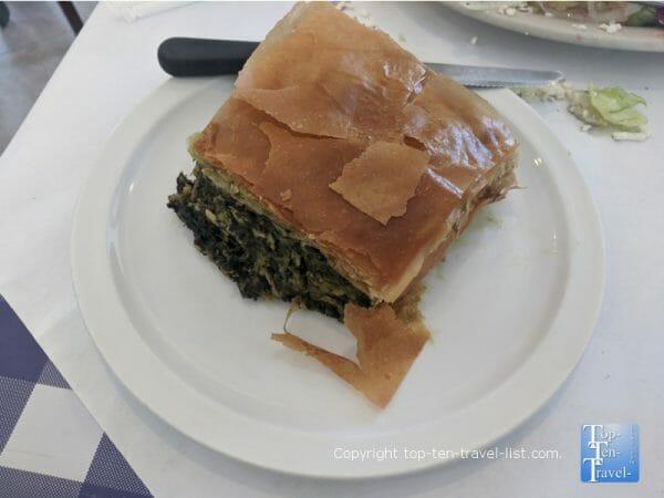 Spanakopita at Mr. Souvlaki Greek restaurant in Tarpon Springs, Florida