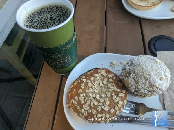 Pumpkin muffin. house coffee, and sprouted bagel at Panera Bread