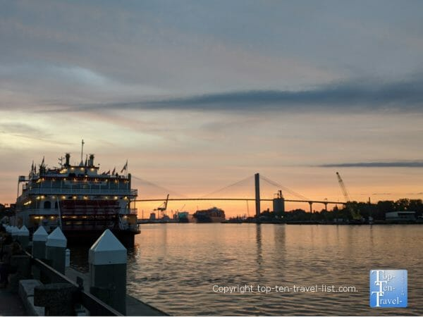 Sunset along the Savannah riverfront