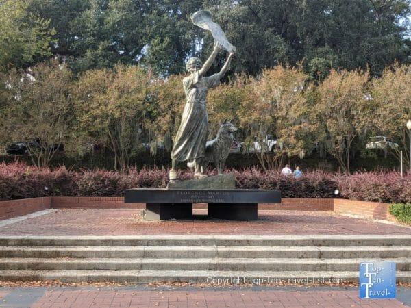 Waving girl statue along the Savannah riverfront