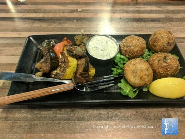 Falafel dinner at Mad Beach Craft Brewing Company in Madeira Beach, Florida