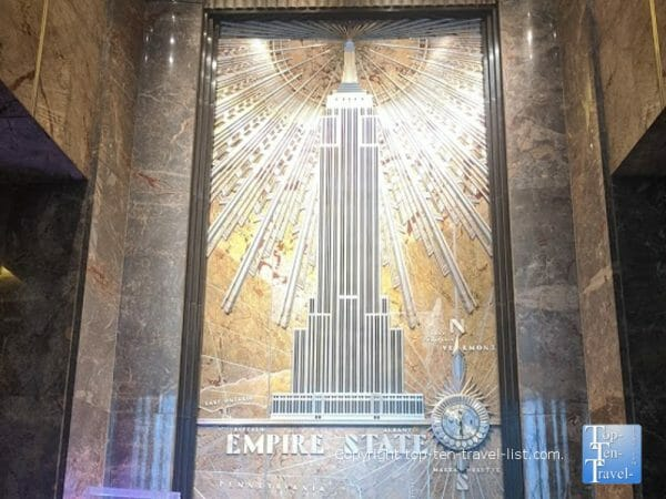 Marble mural in the lobby of the Empire State building in NYC - Elf filming location
